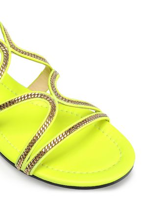JIMMY CHOO Embellished neon suede sandals
