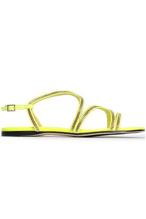 JIMMY CHOO | Jimmy Choo Embellished Neon Suede Sandals | Goxip