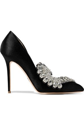 PAULA CADEMARTORI Iris Opulence embellished silk-satin pumps