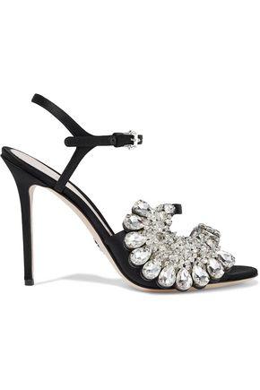 PAULA CADEMARTORI Blossom Opulence crystal-embellished satin sandals