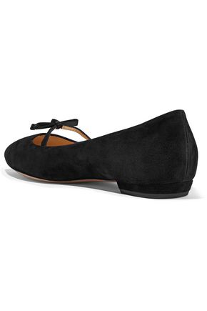 86808231817ce1 ... ARMANI COLLEZIONI Satin-trimmed bow-embellished suede point-toe flats