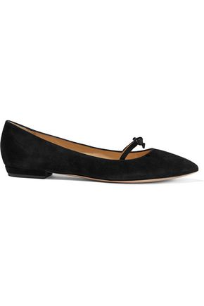 ARMANI COLLEZIONI Satin-trimmed bow-embellished suede point-toe flats