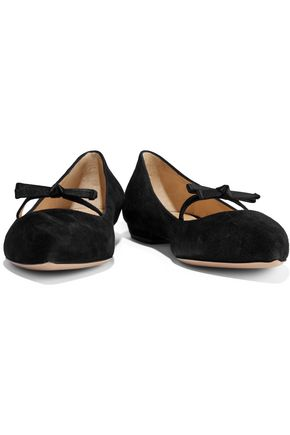 0de53290c966d2 ... ARMANI COLLEZIONI Satin-trimmed bow-embellished suede point-toe flats  ...