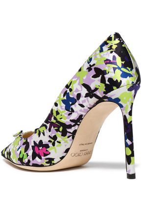 JIMMY CHOO Appliquéd printed satin pumps