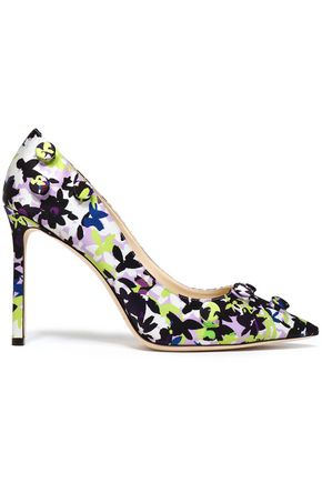 518dadbea17e JIMMY CHOO Appliquéd printed satin pumps