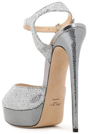 JIMMY CHOO Glittered smooth and textured-leather platform sandals