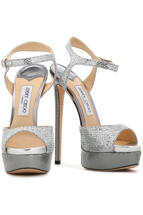 43301b56394 JIMMY CHOO Glittered smooth and textured-leather platform sandals