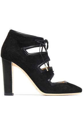 JIMMY CHOO Leather-trimmed suede pumps