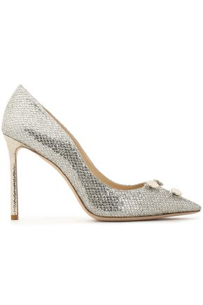 JIMMY CHOO Jasmine 100 embellished glittered woven pumps