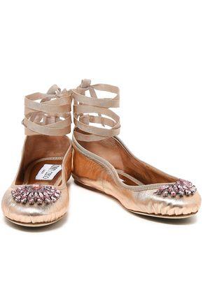 JIMMY CHOO Grace crystal-embellished metallic leather ballet flats