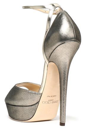 JIMMY CHOO Metallic leather platform pumps