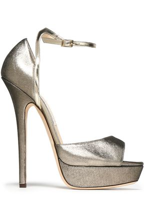 21becf90af0 JIMMY CHOO Metallic leather platform sandals