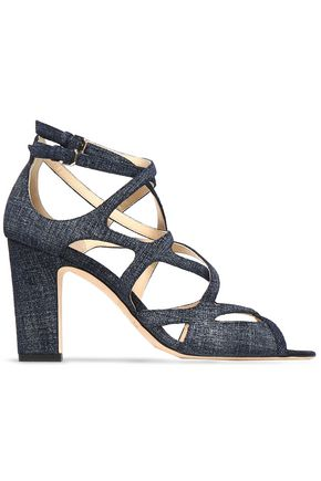 JIMMY CHOO Dillan 85 cutout denim sandals