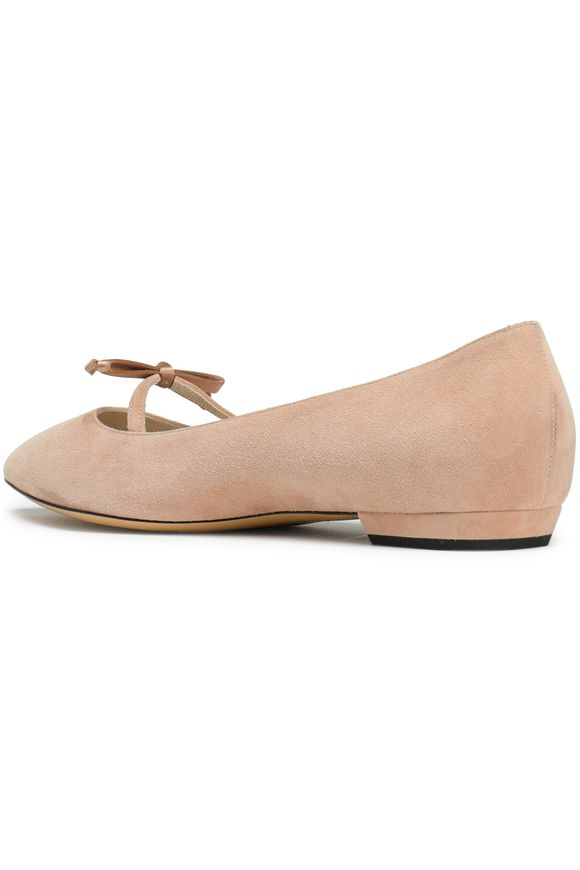 ed19abec20eac9 Satin-trimmed bow-embellished suede point-toe flats