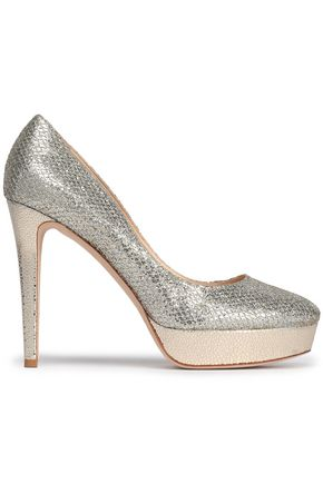 JIMMY CHOO Alex glittered leather platform pumps