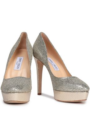 9d297d4e55e7 JIMMY CHOO Alex glittered leather platform pumps