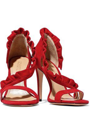 SCHUTZ Ruffle-trimmed suede sandals
