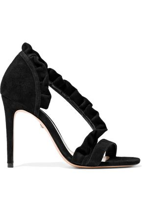 b6a724479b33 SCHUTZ Ruffle-trimmed suede sandals