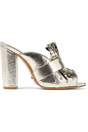 SCHUTZ Janny studded metallic crinkled-leather mules