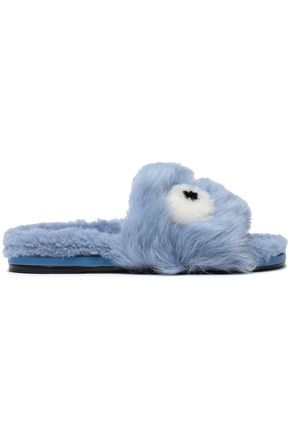 ANYA HINDMARCH Embellished shearling slippers