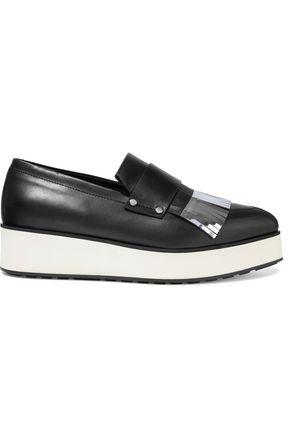 McQ Alexander McQueen Metallic fringed leather platform loafers