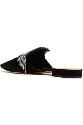 SCHUTZ Fringed crystal-embellished suede slippers