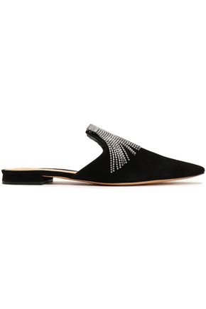 SCHUTZ Fringed crystal-embellished suede slippers
