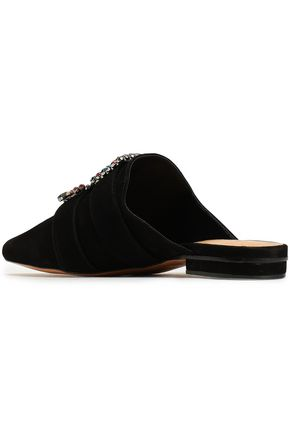 SCHUTZ Crystal-embellished suede slippers