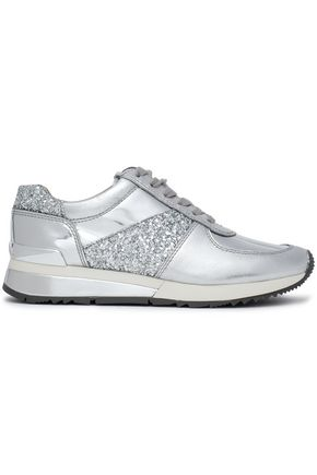 MICHAEL KORS Glittered metallic leather sneakers