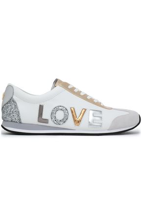 MICHAEL MICHAEL KORS Suede-trimmed glittered leather sneakers