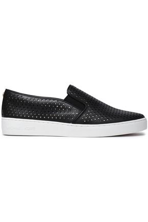 MICHAEL MICHAEL KORS Laser-cut leather slip-on sneakers