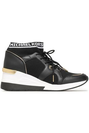 MICHAEL MICHAEL KORS Stretch-knit and leather-paneled high-top sneakers