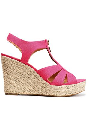 MICHAEL MICHAEL KORS Canvas espadrille wedge sandals