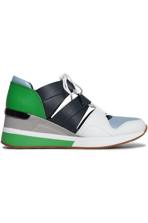 MICHAEL KORS Color-block cutout leather sneakers