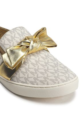 e282c8257c0 ... MICHAEL MICHAEL KORS Bow-embellished printed textured-leather slip-on  sneakers ...