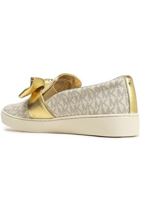 e74b25f9521 ... MICHAEL MICHAEL KORS Bow-embellished printed textured-leather slip-on  sneakers