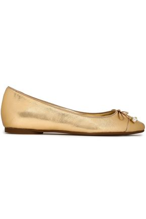 MICHAEL MICHAEL KORS Bow-embellished metallic leather ballet flats