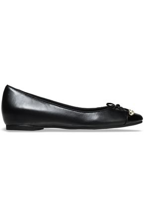 MICHAEL MICHAEL KORS Bow-embellished smooth and patent-leather ballet flats