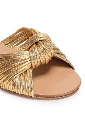 MICHAEL KORS COLLECTION Metallic knotted leather slides