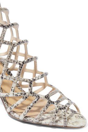SCHUTZ Oberlyn cutout snake-effect leather sandals