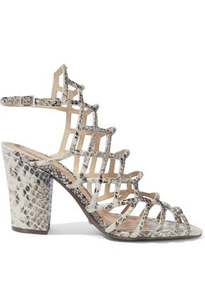 SCHUTZ Oberlyn cutout snake-effect leather sandals