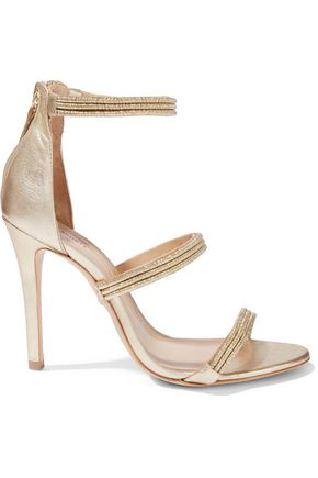 SCHUTZ Dyane metallic cord and leather sandals