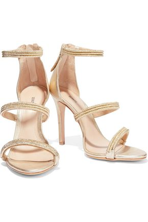 SCHUTZ Dyane metallic cord and leather sandals