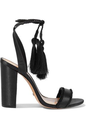 SCHUTZ Primm tasseled frayed satin sandals