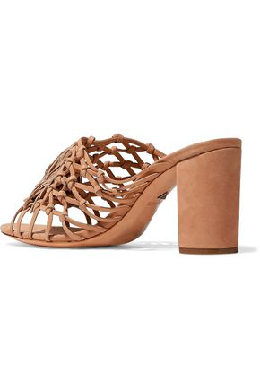 SCHUTZ Emily knotted tasseled suede mules