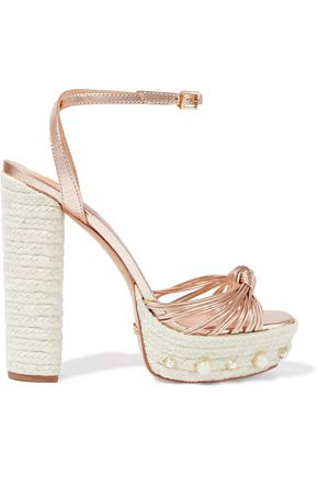 SCHUTZ Elaniri faux pearl-embellished metallic leather platform sandals