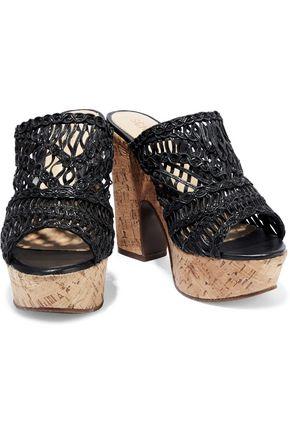 SCHUTZ Faux leather and cork platform mules