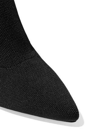SCHUTZ Gisela striped stretch-knit sock boots