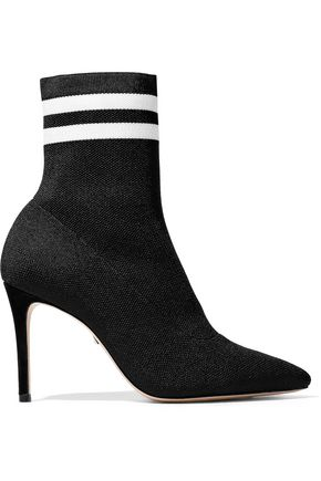 SCHUTZ Gisela striped stretch-knit sock boots