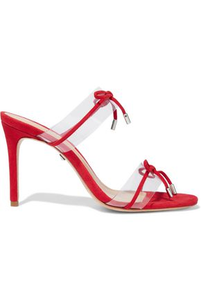 SCHUTZ Helia PVC-paneled bow-embellished suede sandals